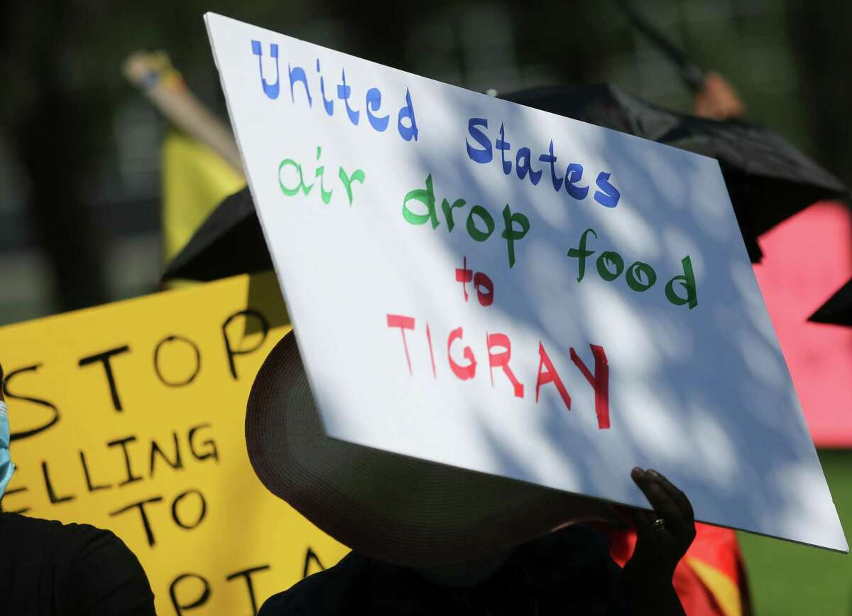 Protesters gather outside the Consulate General of Turkey in Houston to bring attention to Turkey selling drones to Ethiopia for the government to use in Tigray on Wednesday, Sept. 8, 2021.