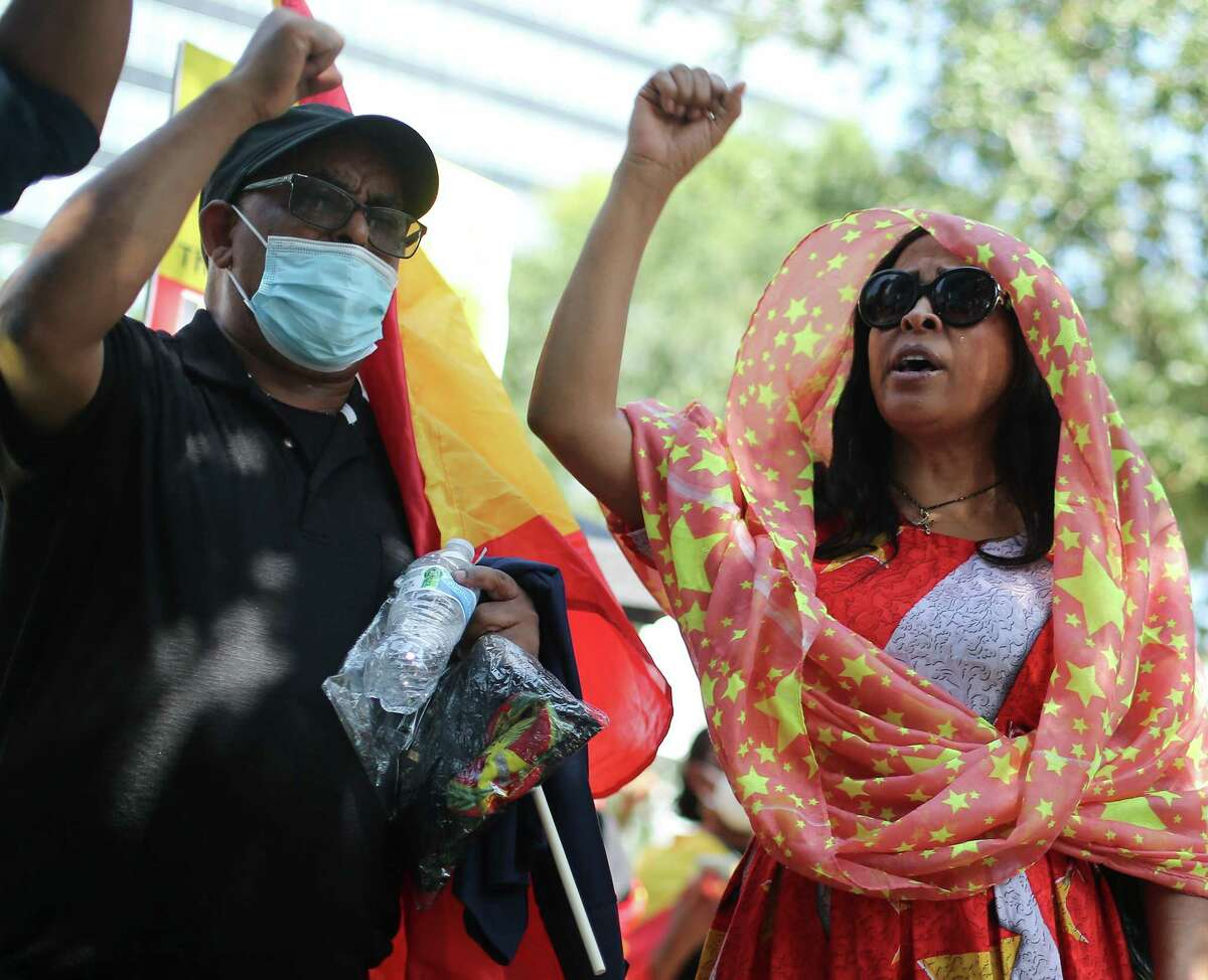 Suzani Asmlash Grant joins protesters outside the Consulate General of Turkey in Houston on Wednesday, Sept. 8, 2021.