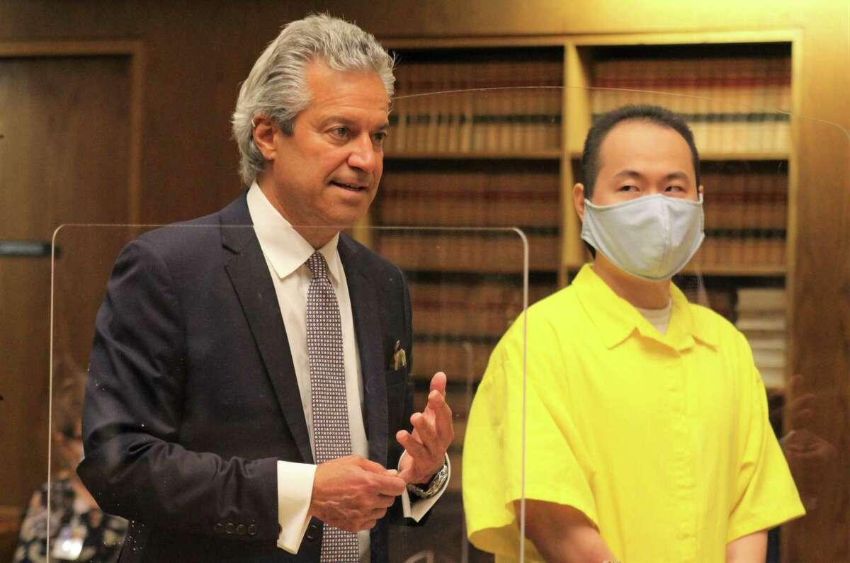 Qinxuan Pan, right, accused of killing Yale graduate student Kevin Jiang