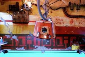 """Handmade """"Star Wars"""" props and decorations fill the back room of Cinch Saloon on Polk Street."""