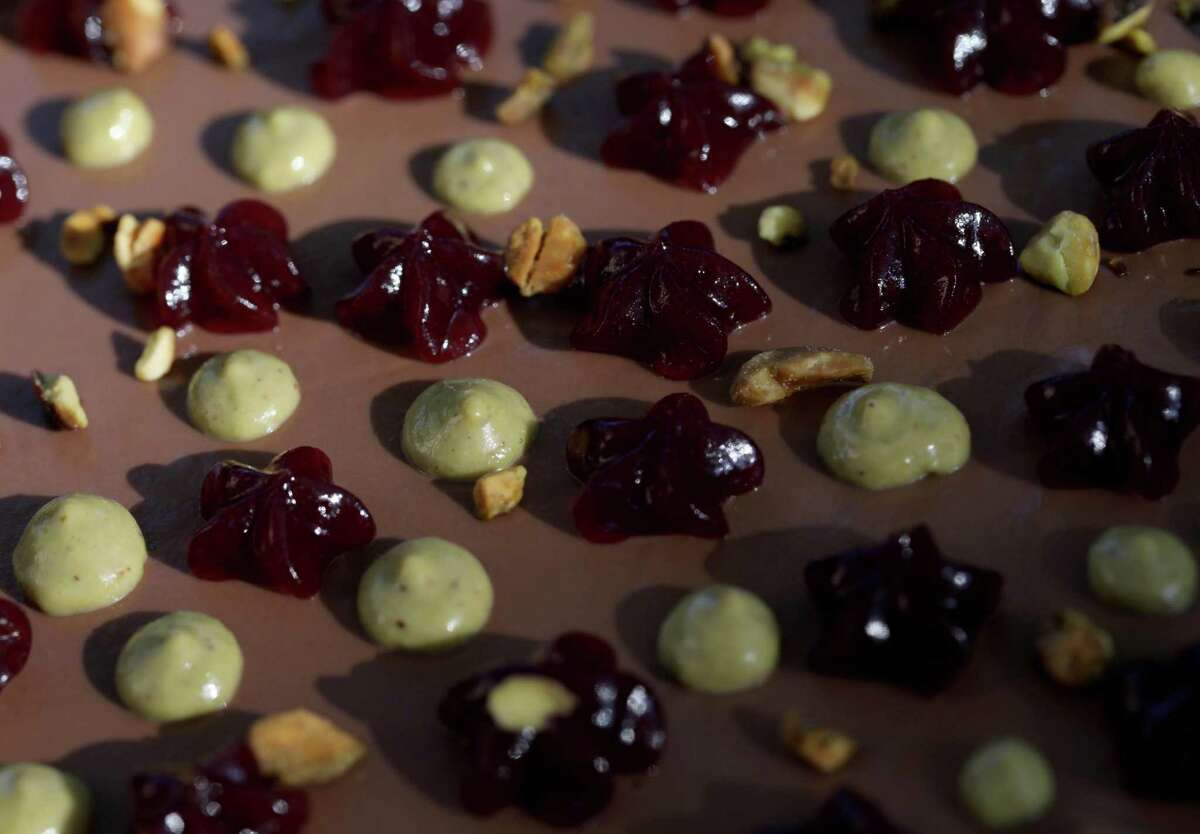 The chocolate tart includes pistachio butter and Concord grape.