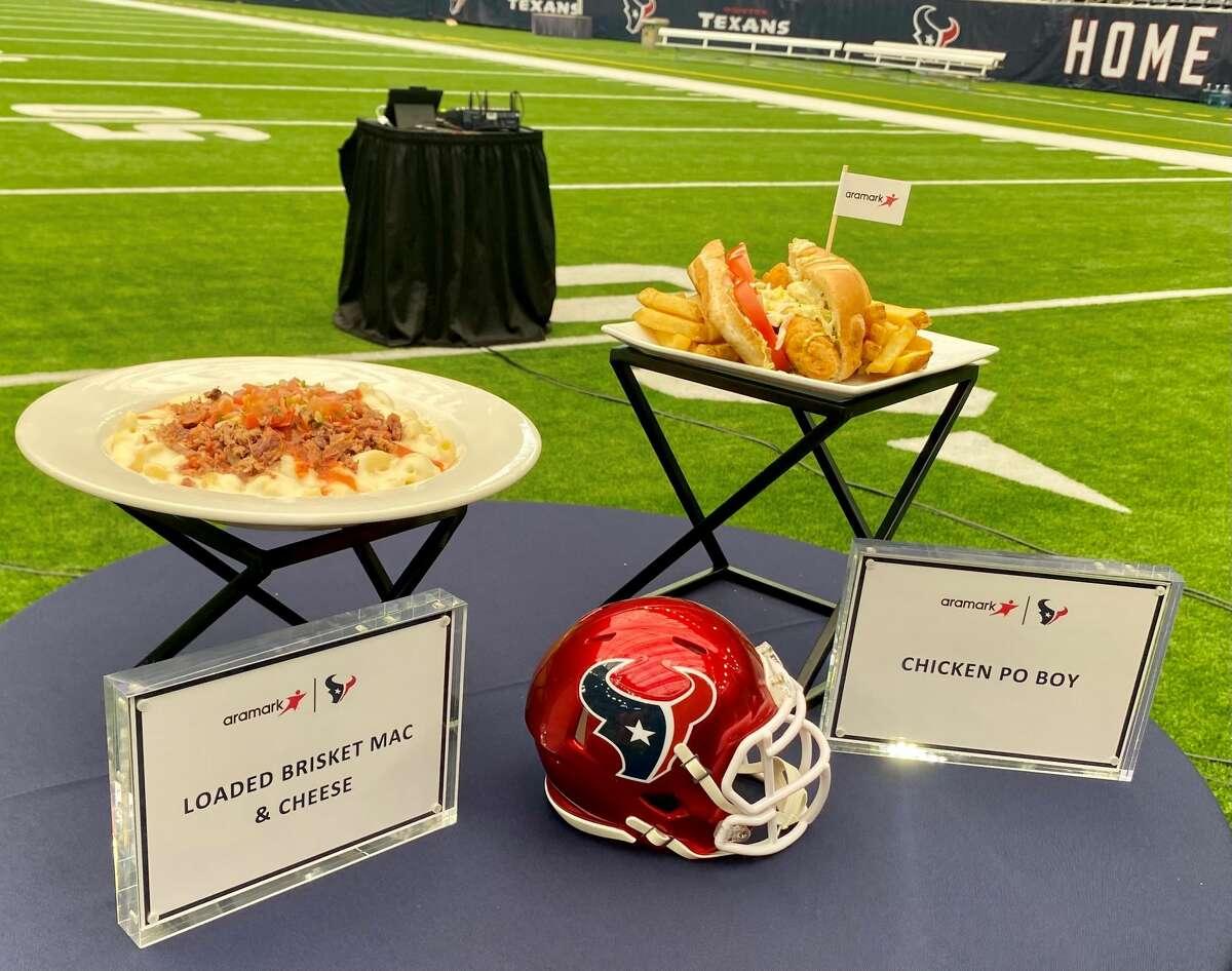 A sample of the new concession items at Texans home games at NRG Stadium this season.