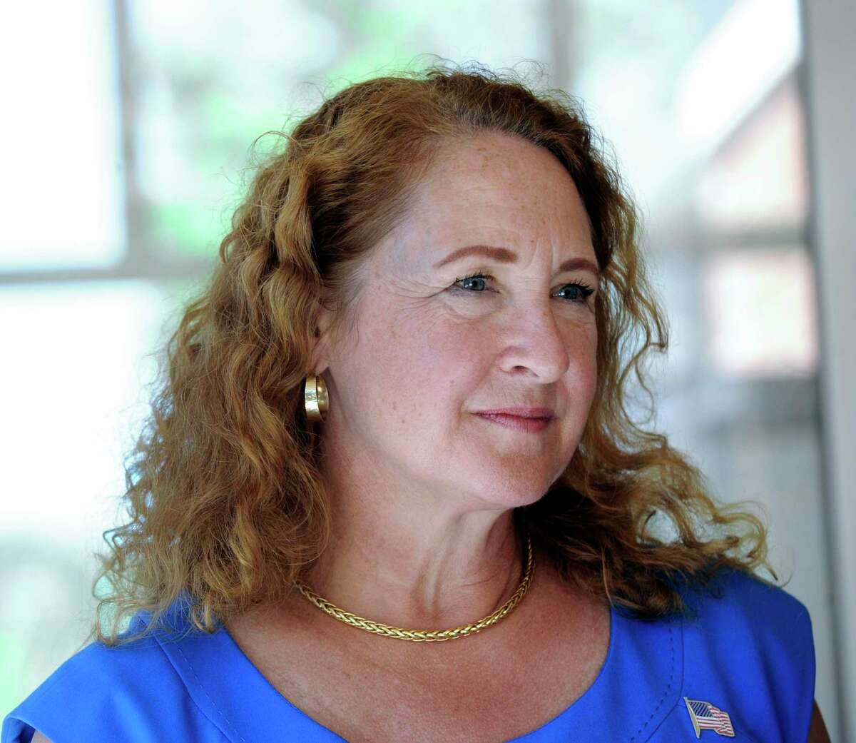 Then-U.S. Rep. Elizabeth Esty visits with seniors at the Brookfield Senior Center, Monday, July 9, 2018.
