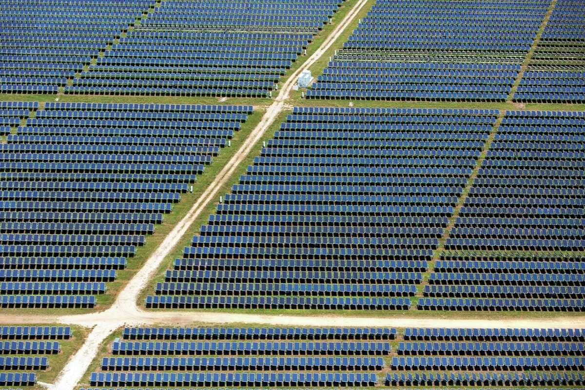 A portion of OCI Solar Power's 41 megawatt Alamo 1 solar farm on San Antonio's south side is seen in a Wednesday, May 17, 2017 aerial photo.
