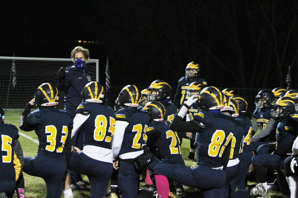 Manistee coach Troy Bytwork addresses the Chippewas following a win against Kalkaska in 2020.