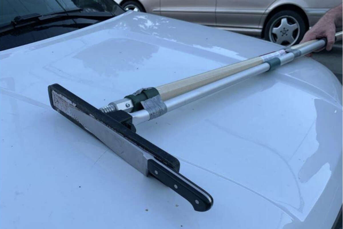 San Mateo County sheriff's deputies used a makeshift tool - an industrial magnet attached to a painter's pole with duct tape - to retrieve a knife from a sleeping man who had threatened to hurt himself Tuesday afternoon in San Carlos.
