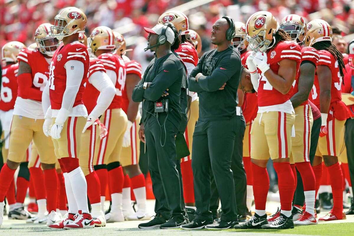 San Francisco 49ers' defensive coordinator DeMeco Ryans (black shirt/no hat) during NFL preseason game against Las Vegas Raiders at Levi's Stadium in Santa Clara, Calif., on Sunday, August 29, 2021.
