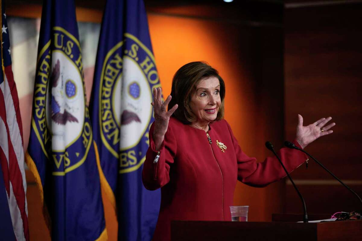 WASHINGTON, DC - SEPTEMBER 08: Speaker of the House Nancy Pelosi (D-CA) speaks during her weekly news conference at the U.S. Capitol on September 8, 2021 in Washington, DC. Pelosi spoke on a range of issues, including the debt ceiling and climate change. (