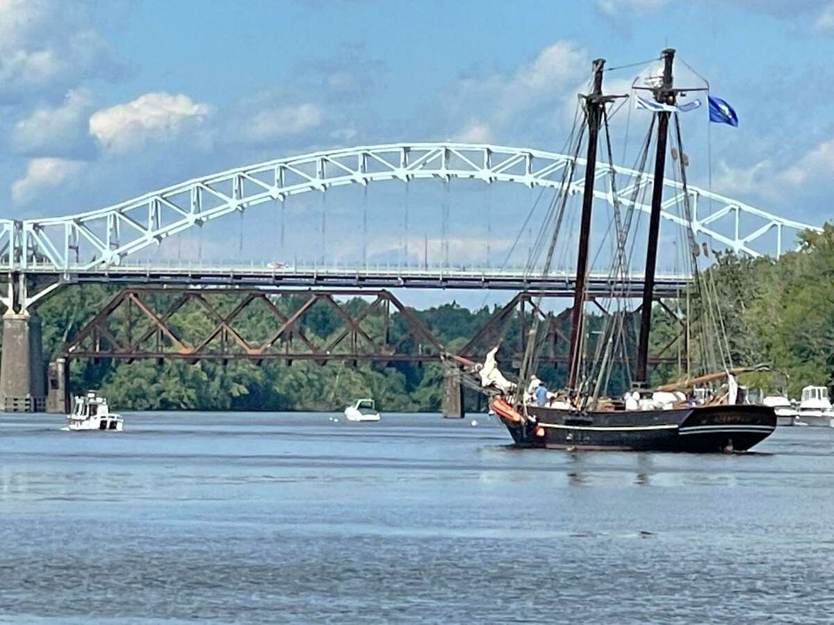 Middletown Harbormaster Drew France took photos of the Amistad when it passed by Harbor Park on the Connecticut River Tuesday on its way to Hartford.