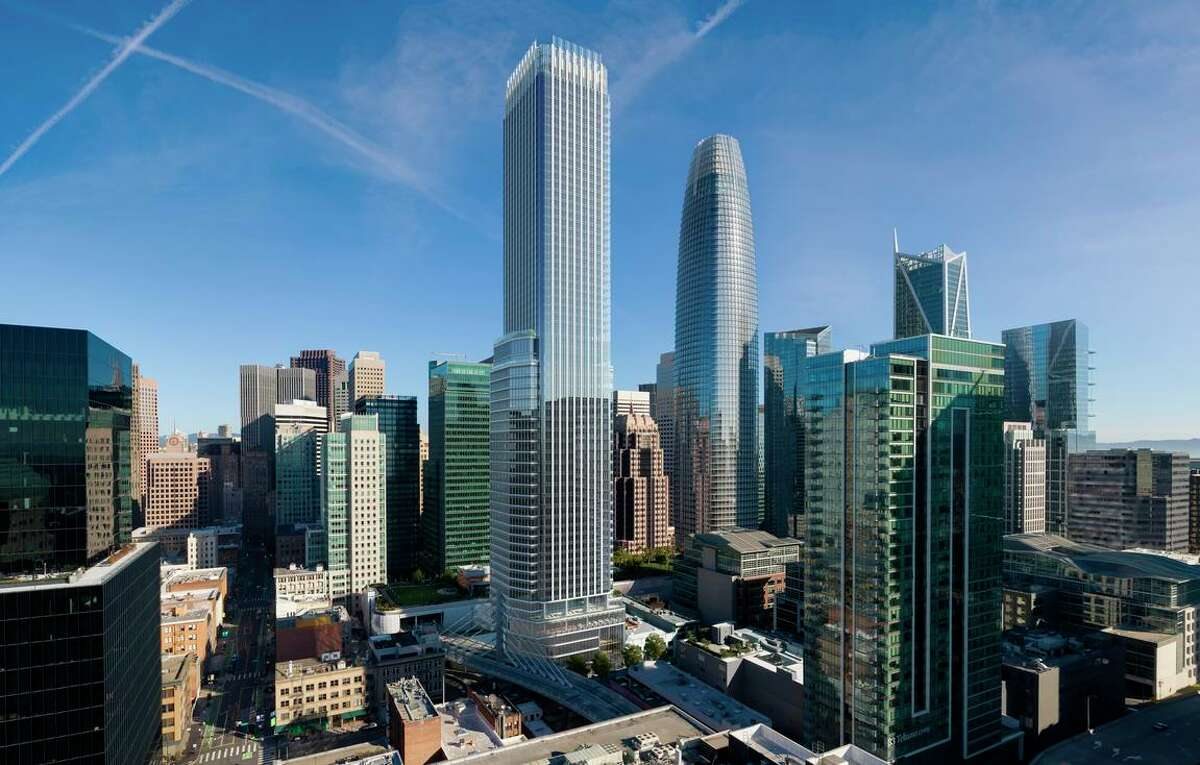 An architectural rendering shows the 61-story mixed-use tower planned for 550 Howard St. in the Transbay District. The project is slated to break ground in the first quarter of 2022 and will include a deluxe 180-room Rosewood Hotel.
