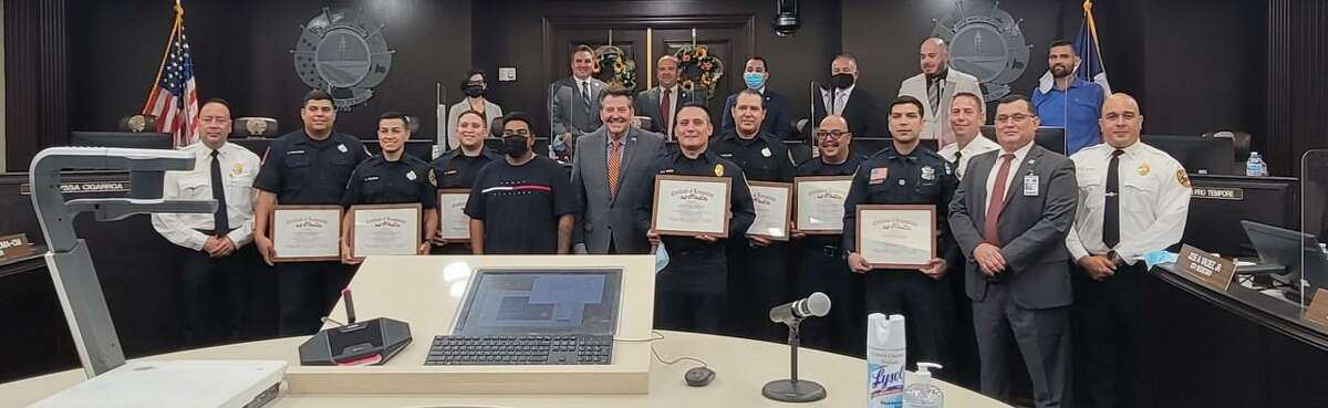 Members of the Laredo Fire and Police Departments were recognized for their life-saving efforts where a man was shocked by electricity.
