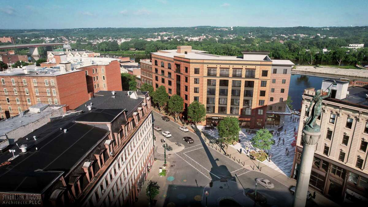 An aerial view of rendering of 1 Monument Square from the square.