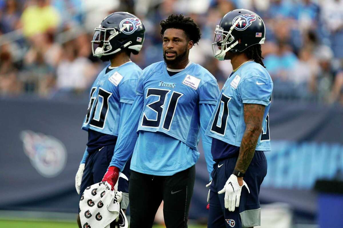 FILE - In this Aug. 16, 2021, file photo, Tennessee Titans free safety Kevin Byard (31) waits for his turn to run a drill during NFL football practice in Nashville, Tenn. (AP Photo/Mark Humphrey, File)