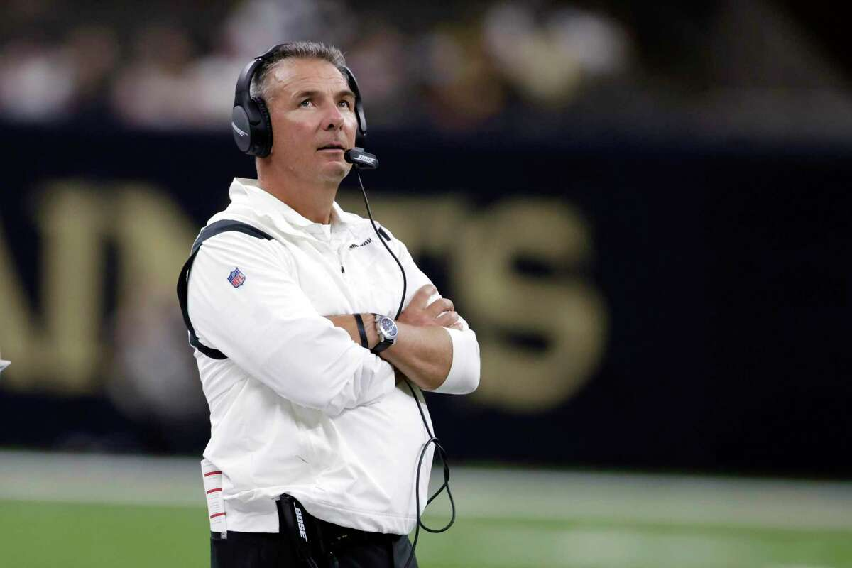 FILE - In this Aug. 23, 2021, file photo, Jacksonville Jaguars head coach Urban Meyer watches from the sideline in the second half of a preseason NFL football game against the New Orleans Saints in New Orleans. (AP Photo/Brett Duke, File)