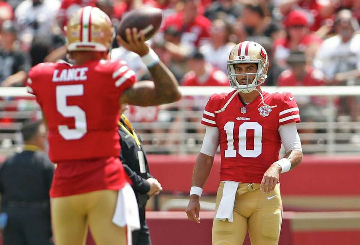 The 49ers' top QB job belongs to Jimmy Garoppolo, but rookie Trey Lance is waiting in the wings.
