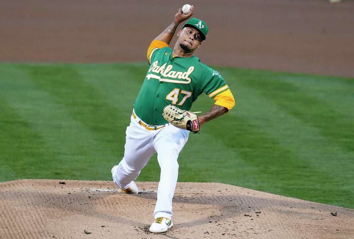 Frankie Montas threw seven one-run innings Wednesday night at the Coliseum to help the A's snap a four-game losing streak.