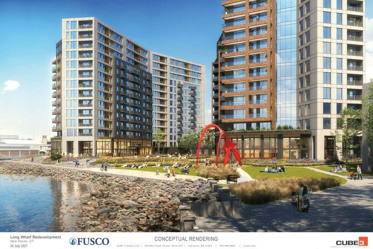 Renderings provided to the New Haven City Plan Department for a plan by Fusco Corp. for a zoning amendment to allow up to and coastal site plan review for up to 500 apartments on Long Wharf Drive.
