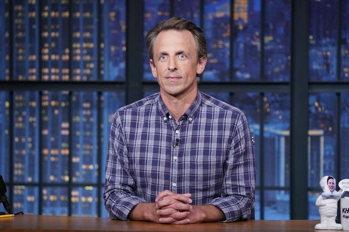 Pictured: Host Seth Meyers during the monologue on August 17, 2021.