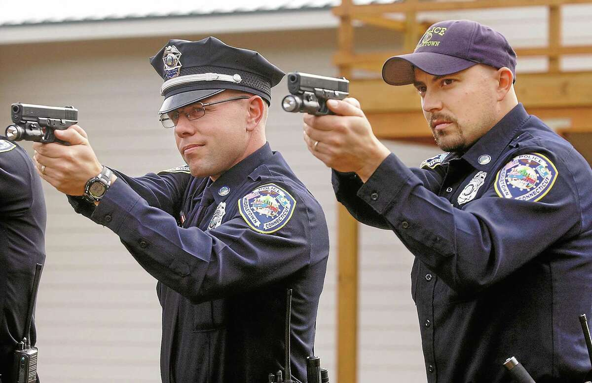 Middletown police officers test the target at the Dingwall-Horan Joint Firearms Training Facility in Middletown in this 2009 picture.