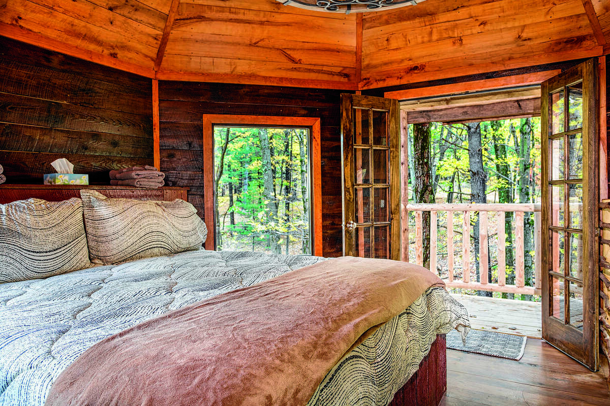 One of the treehouses at The Mohicans Treehouse Resort and Wedding Venue in Glenmont, Ohio. Guests can enjoy luxury amenities in these treehouses all year at the resort.