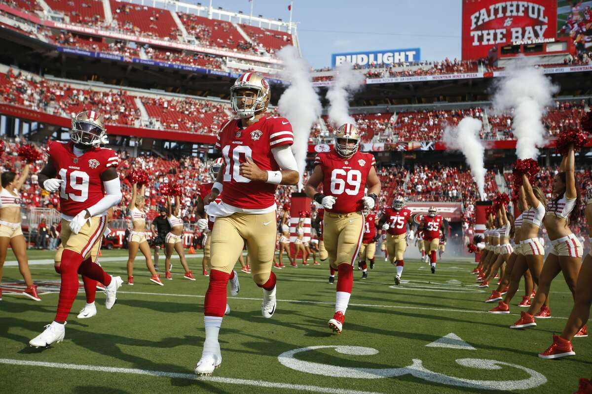 SANTA CLARA, CA - AUGUST 14: The San Francisco 49ers are introduced onto the field before the preseason game against the Kansas City Chiefs at Levi's Stadium on August 14, 2021 in Santa Clara, California.