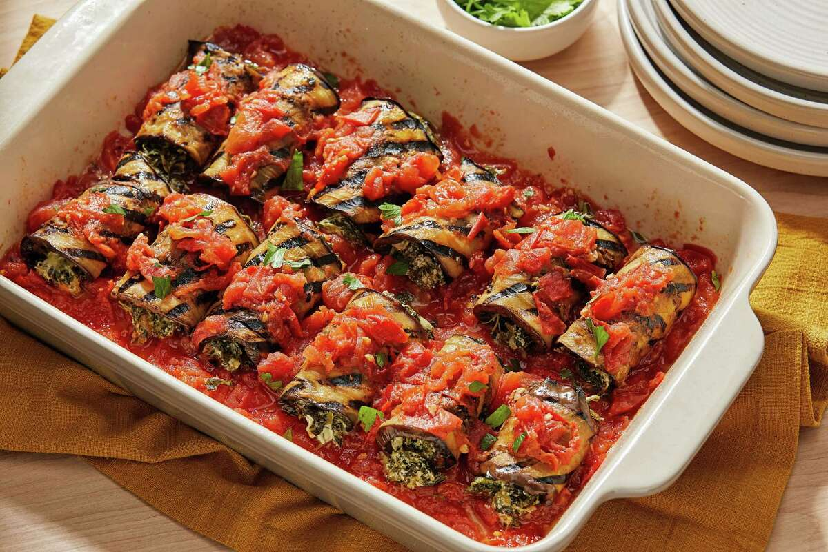Grilled Eggplant Roll-Ups With Spinach and Goat Cheese.