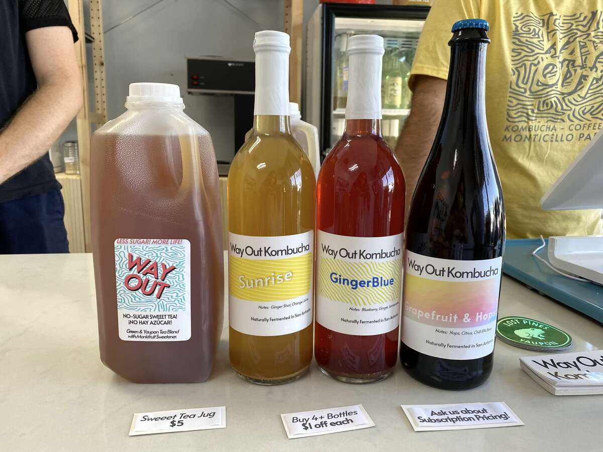 Some of Way Out Kombucha's early lineup. The fermented tea is made with yaupon, a plant native to Oklahoma and parts of Central Texas.