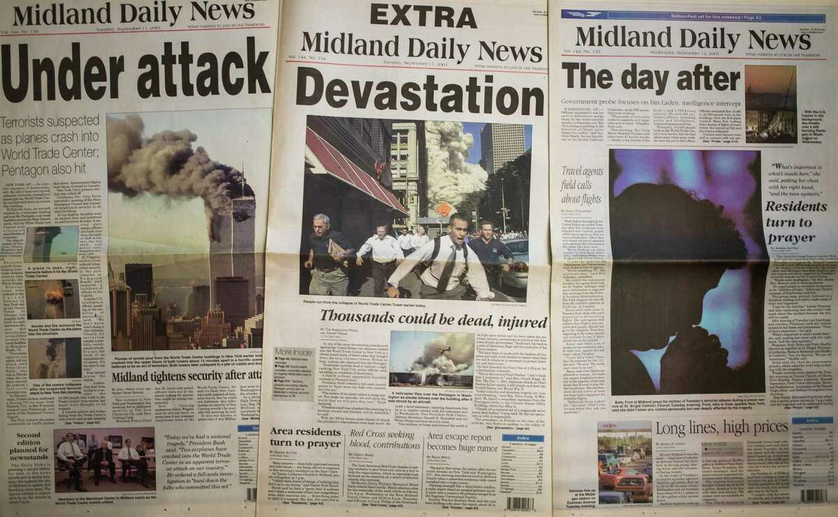 Archived editions of the Midland Daily News from Tuesday, Sept. 11, 2001 and Wednesday, Sept. 12, 2001 show coverage of the 9/11 terrorist attacks on the World Trade Center and Pentagon. (Katy Kildee/kkildee@mdn.net)