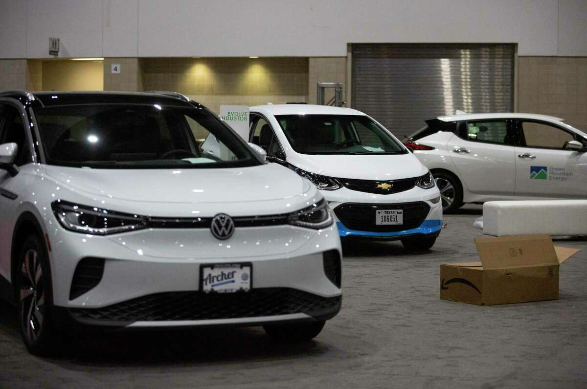 EVolve Houston displayed electric cars across makers during the Houston Auto Show, shown May 18, 2021, at NRG Center in Houston.