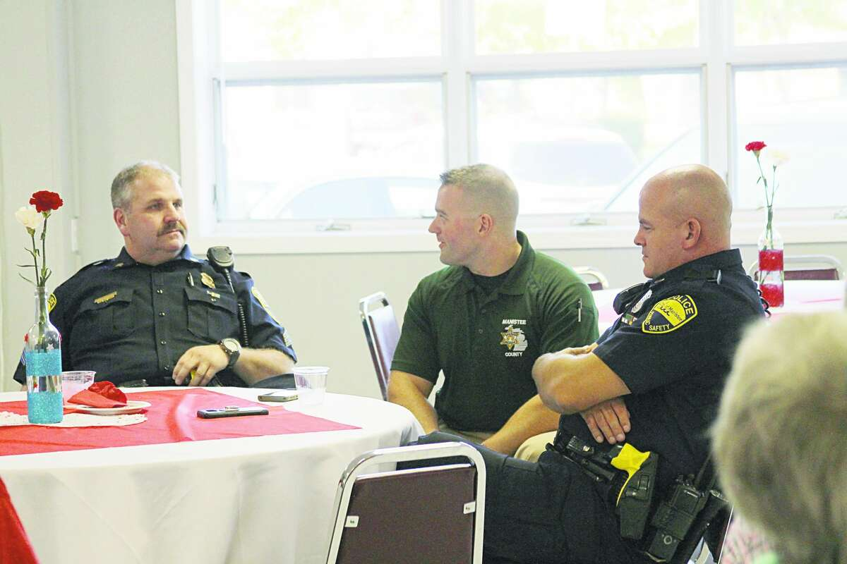 The Manistee County Council on Aging held a first responder open house in 2017. Pictured (from left to right) are Manistee Police Sgt. Steve Schmeling, then Manistee County emergency manager (now sheriff) Brian Gutowski and Manistee Police Sgt. Doug VanSickle.