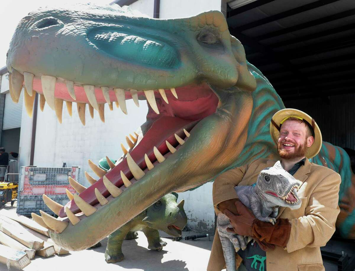 Nick Schaefer, customer experience specialist with Jurassic Quest, is seen with a baby Tyrannosaurus puppet beside a animatronic dinosaur, Tuesday, Sept. 7, 2021, in Tamina. Jurassic Quest is a traveling dinosaur attraction based near The Woodlands where guests walk through the Cretaceous, Jurassic and Triassic periods and experience for themselves what it was like to be among dinosaurs of all kinds.