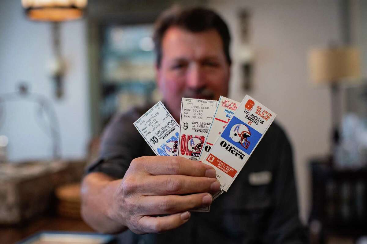 John Work, 64, former Houston Oilers and Texans season-ticket holder saved tickets from games he attended during the 80s and the 90s.