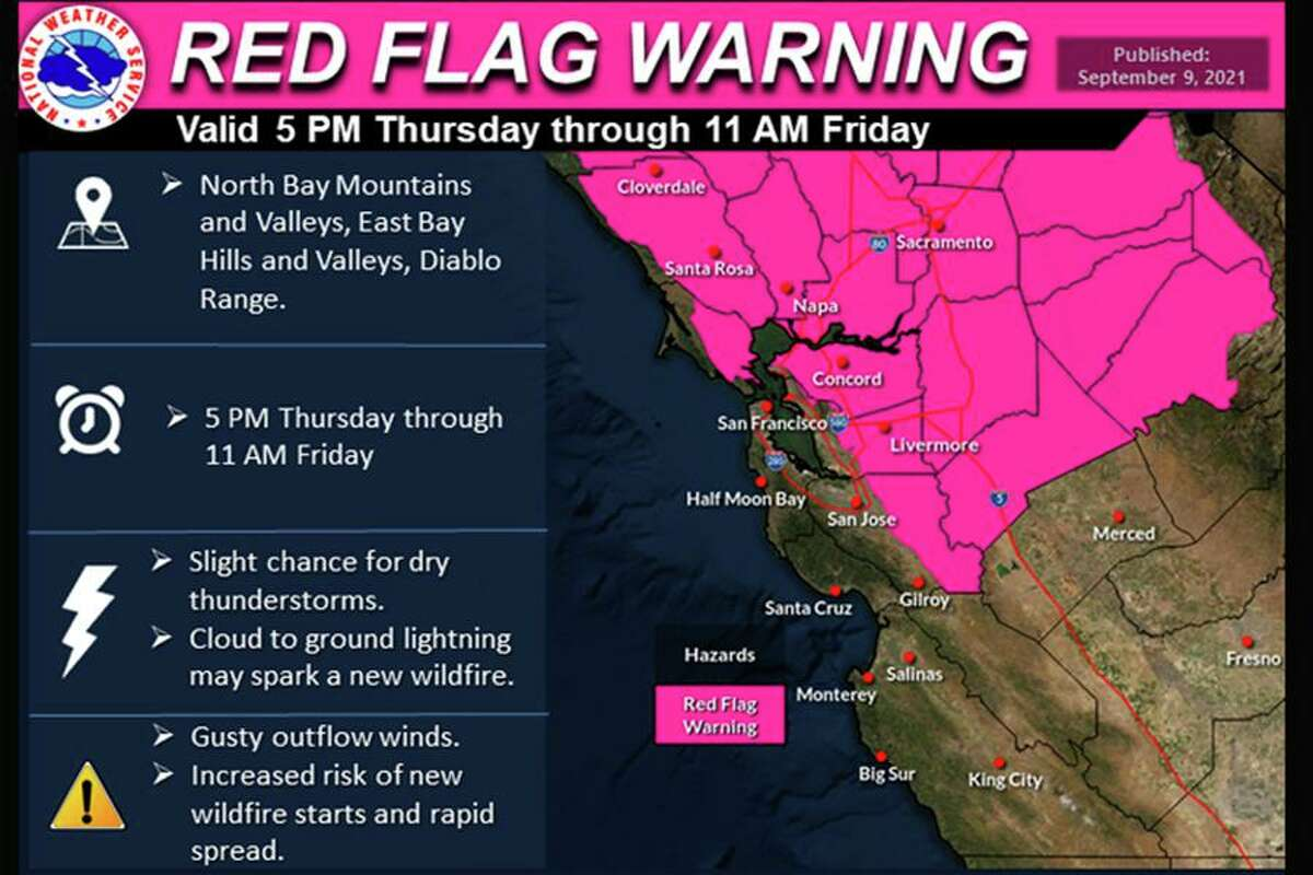 A red flag warning has been issued in Northern California from 5 p.m. Thursday through 11 a.m. Friday.