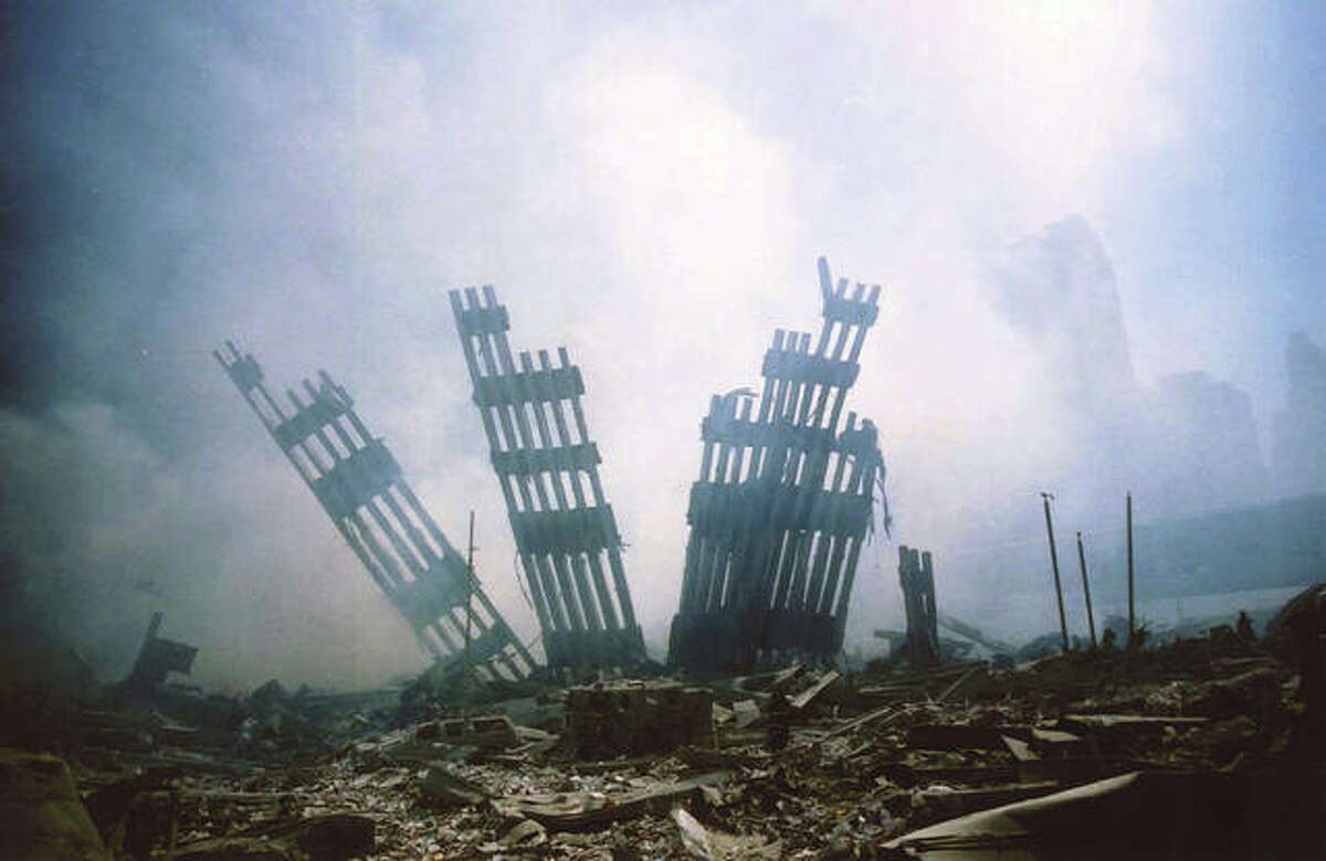 The remains of the World Trade Center stand amid other debris following the terrorist attack on the buildings in New York.