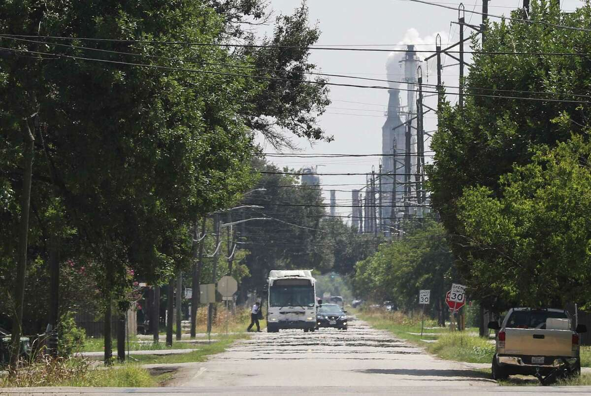 A person gets onto a bus Wednesday, Sept. 8, 2021, on Fidelity Street in Houston.