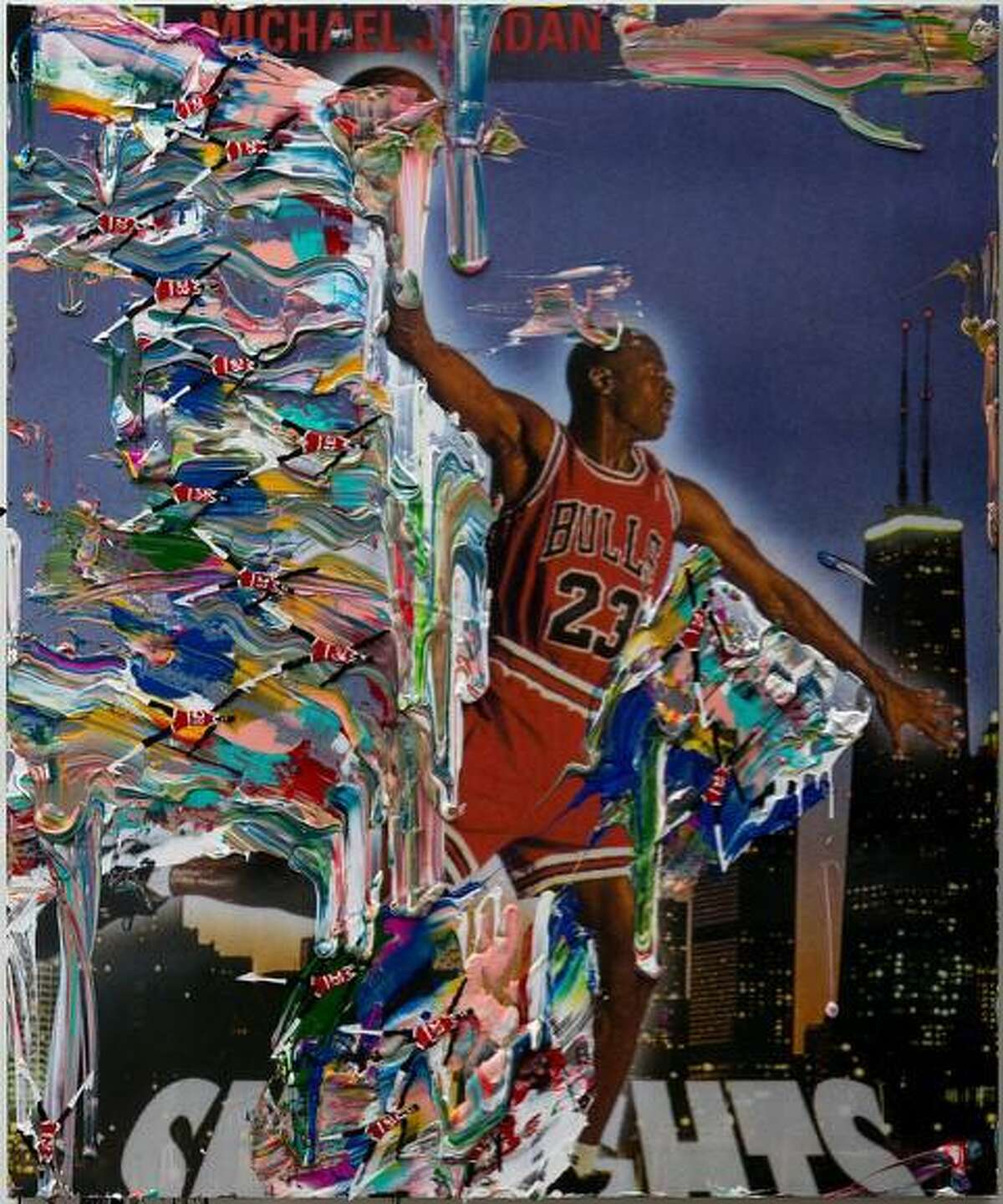 """A new group art exhibition titled: """"Game On"""" is going to be on display from Sept. 9 through Oct. 30, with an opening reception from 5:30 until 8:30 p.m., Sept. 9, at the Hollis Taggart Southport art gallery at 330 Pequot Ave., in Southport. Pictured is: Artist Devin Troy Strother's '""""(b. 1986), I got a Kelley Walker all over my MJ's (air walker part.2) """"the problem continues,"""" 2014 Ink jet, air brush, acrylic, oil varnish, and painted paper on birch panel 72 x 60 x 2 inches.""""'"""