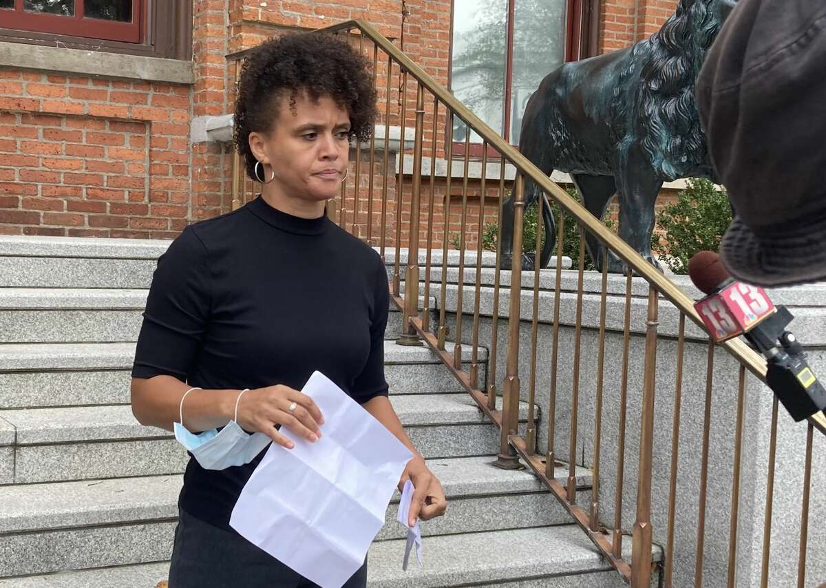 All of Us co-founder Jamaica Miles speaks on the steps of Saratoga Springs City Hall after she was arraigned on Thursday, Sept. 9, 2021,in Saratoga Springs City Court on misdemeanor and violation charges in connection with a July 14 rally.