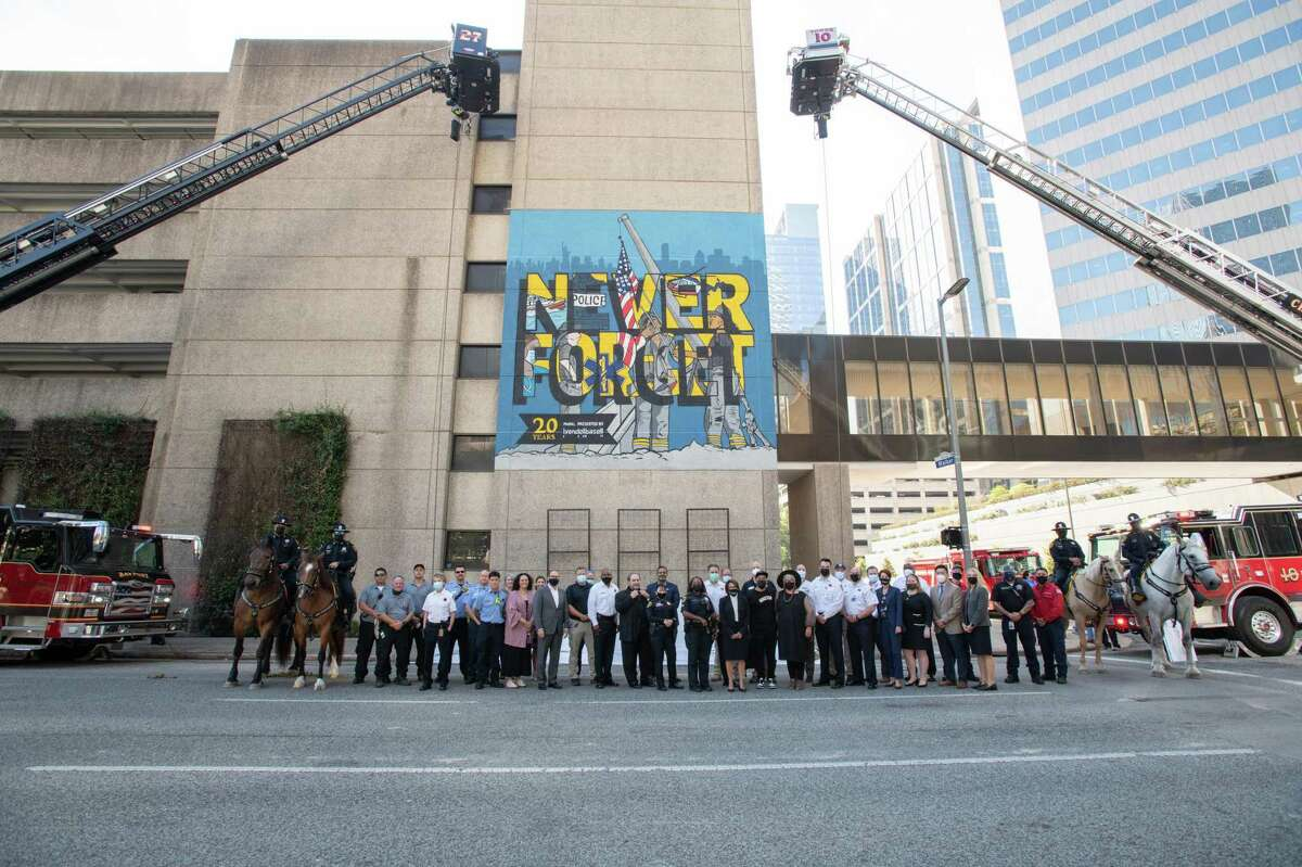 """LyondellBasell, the chemical company with headquarters in Houston and the Netherlands, honored first responders on Wednesday with a custom, commissioned mural by Alex """"Donkeeboy"""" Roman and Sylvia """"Donkeemom"""" Roman to commemorate the 20th anniversary of the 9/11 terror attacks."""