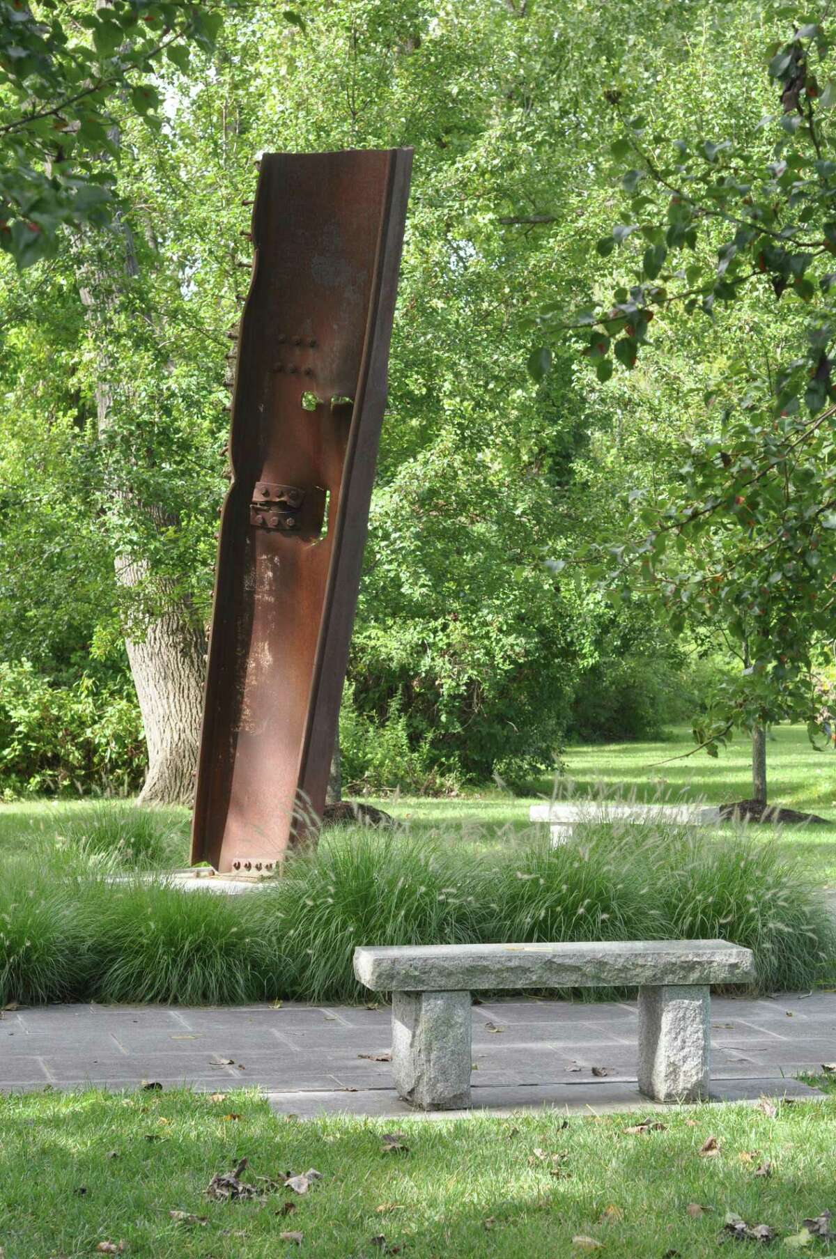 A rusting beam of World Trade steel is the centerpiece of Ridgefield's 9/11 memorial.
