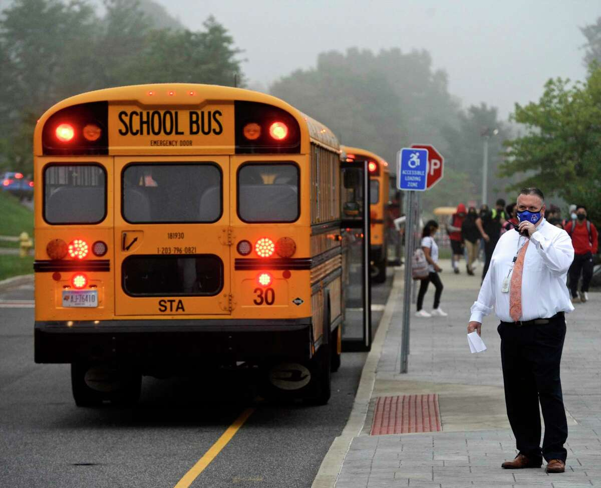 Principal Dan Donovan was outside greeting students on the first day of school for Danbury High School. Monday, August 30, 2021, Danbury, Conn.