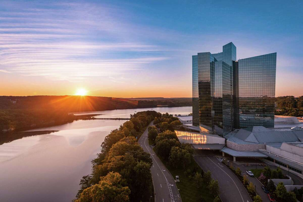 An aerial view of the Mohegan Sun casino and resort along the banks of the Thames River in Montville