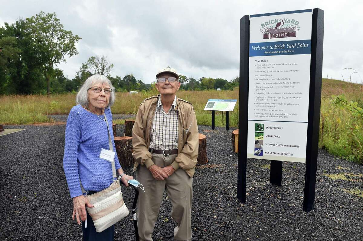 Citizens Advisory Panel members Miriam Brody, left, and Rico Gattilia are photographed at Brick Yard Point in North Haven during the opening of the nature preserve on Sept. 9, 2021.
