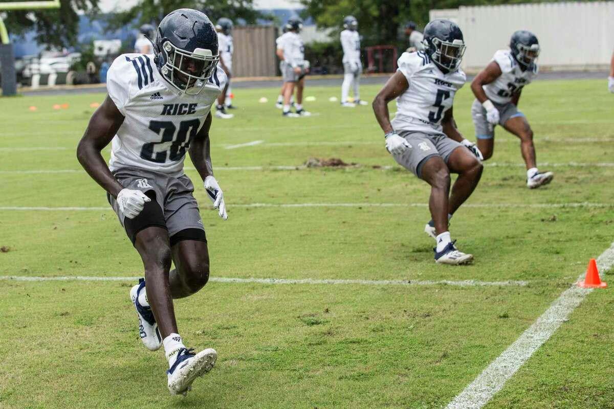 Rice defensive backs George Nyakwol (20) and Chike Anigbogu, running a drill in August practice, will face another test in Houston on Saturday.