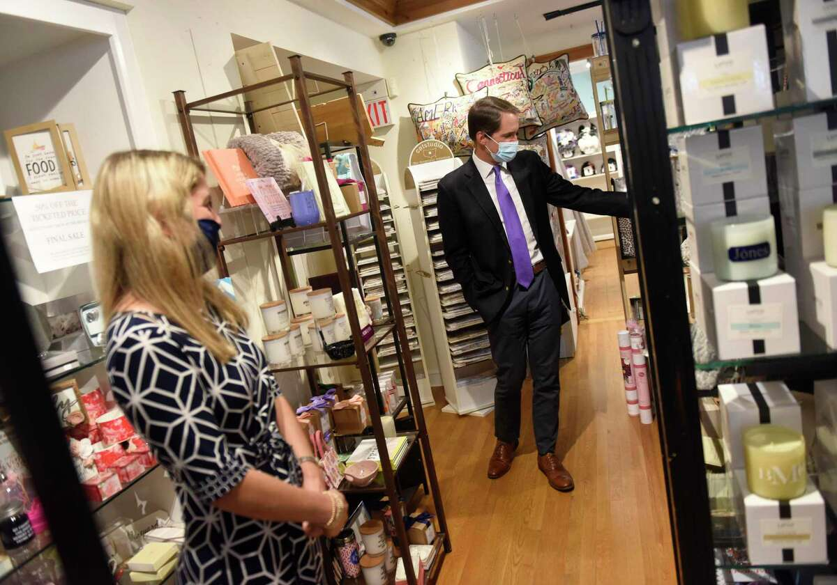 """U.S. Rep. Jim Himes, D-Conn., chats with business owner Sonia Malloy while browsing gifts at SPLURGE in Greenwich, Conn. Thursday, Sept. 9, 2021. Rep. Himes visited SPLURGE and Tiger Lily's interior design studio as part of the Goldman Sachs 10,000 Small Business Voices """"Road to Recovery"""" Tour. The visits were part of a nationwide tour to discuss challenges that small businesses are still facing because of COVID."""