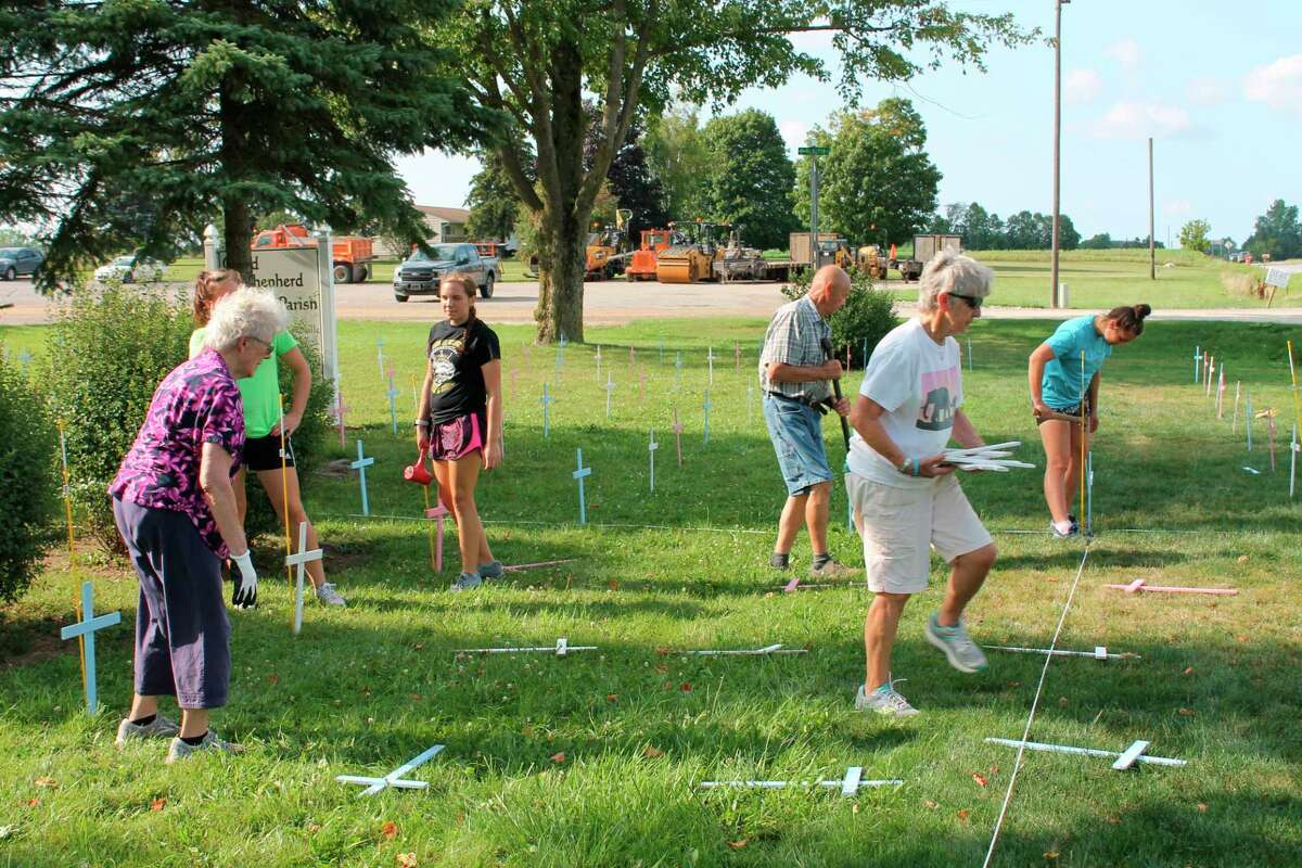 Good Shepherd Parish of Ubly partnered with Bay and Huron County Right to Life groups to put up a pro-life cross display. (Courtesy Photo)