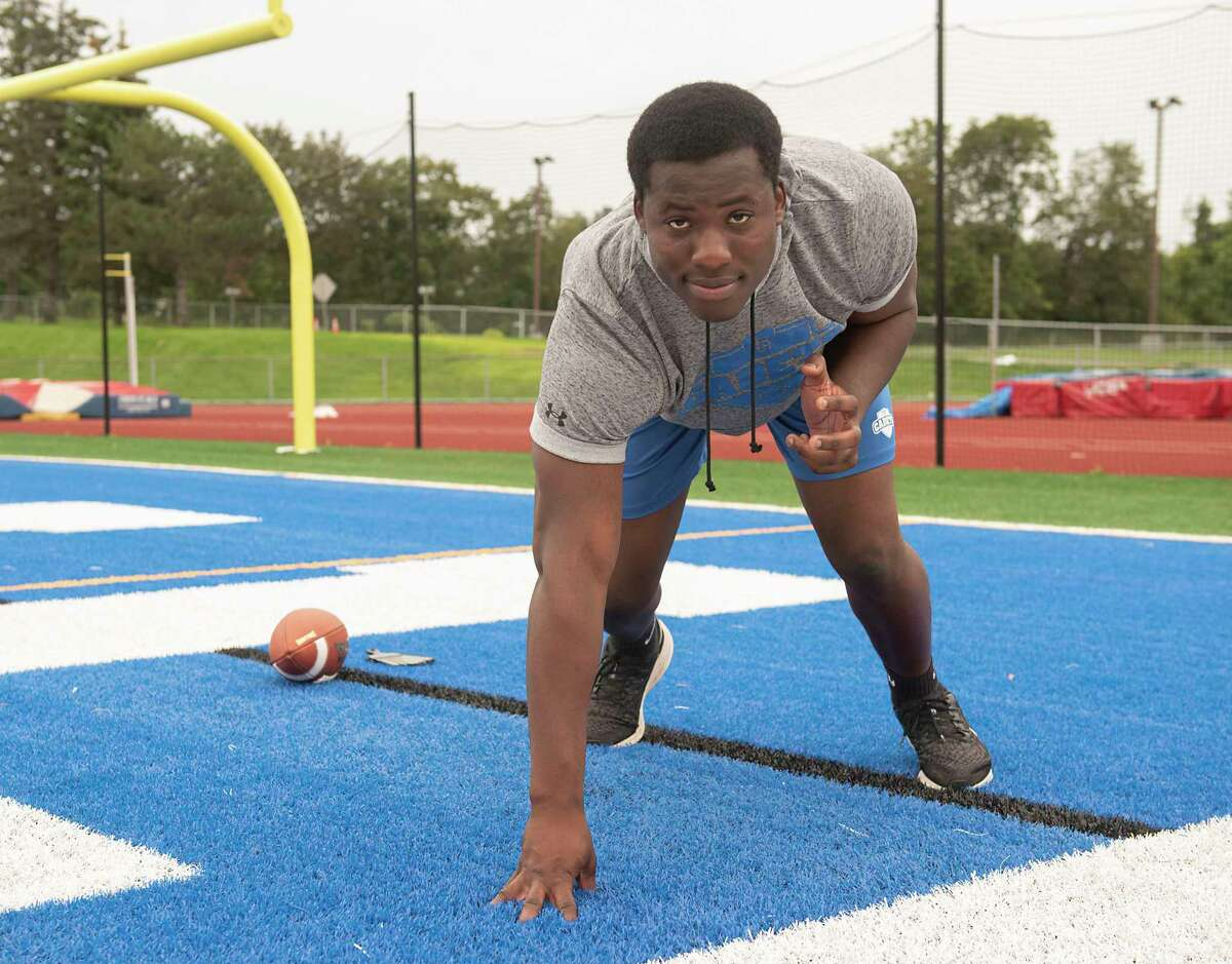 La Salle lineman Dan Amasha at football practice at La Salle on Thursday, Sept. 9, 2021. Amasha thinks the Cadets have a shot at the Class A title this season.