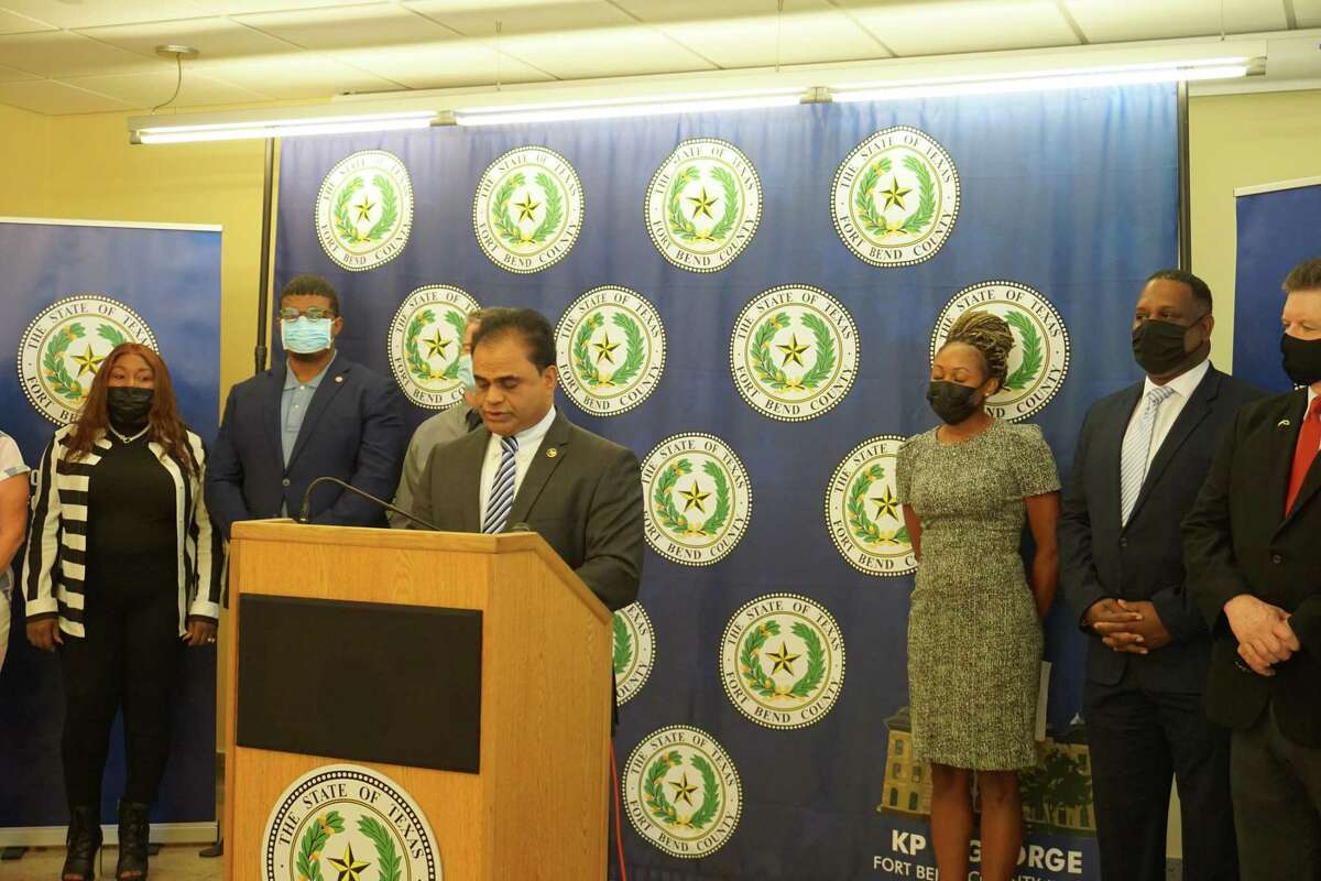 Fort Bend County Judge KP George addresses reporters about the county's new Get Hired employee incentive program on Wednesday, Sept. 8, at the Fort Bend County Historic Courthouse in Richmond.