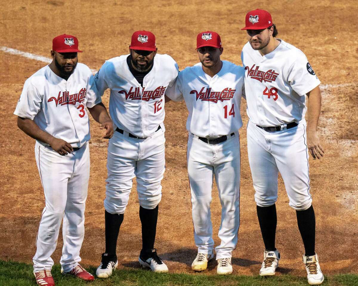 Four Tri-City ValleyCats were named to the Frontier League All Star team. From left: infielder Juan Silverio, outfielder Denis Phipps, pitcher Trey Cochran-Gill and infielder Brad Zunica. The announcement was made following a game against the Sussex County Miners at the Joseph L. Bruno Stadium on the Hudson Valley Community College campus in Troy, NY, on Thursday, Sept. 9, 2021 (Jim Franco/Special to the Times Union)