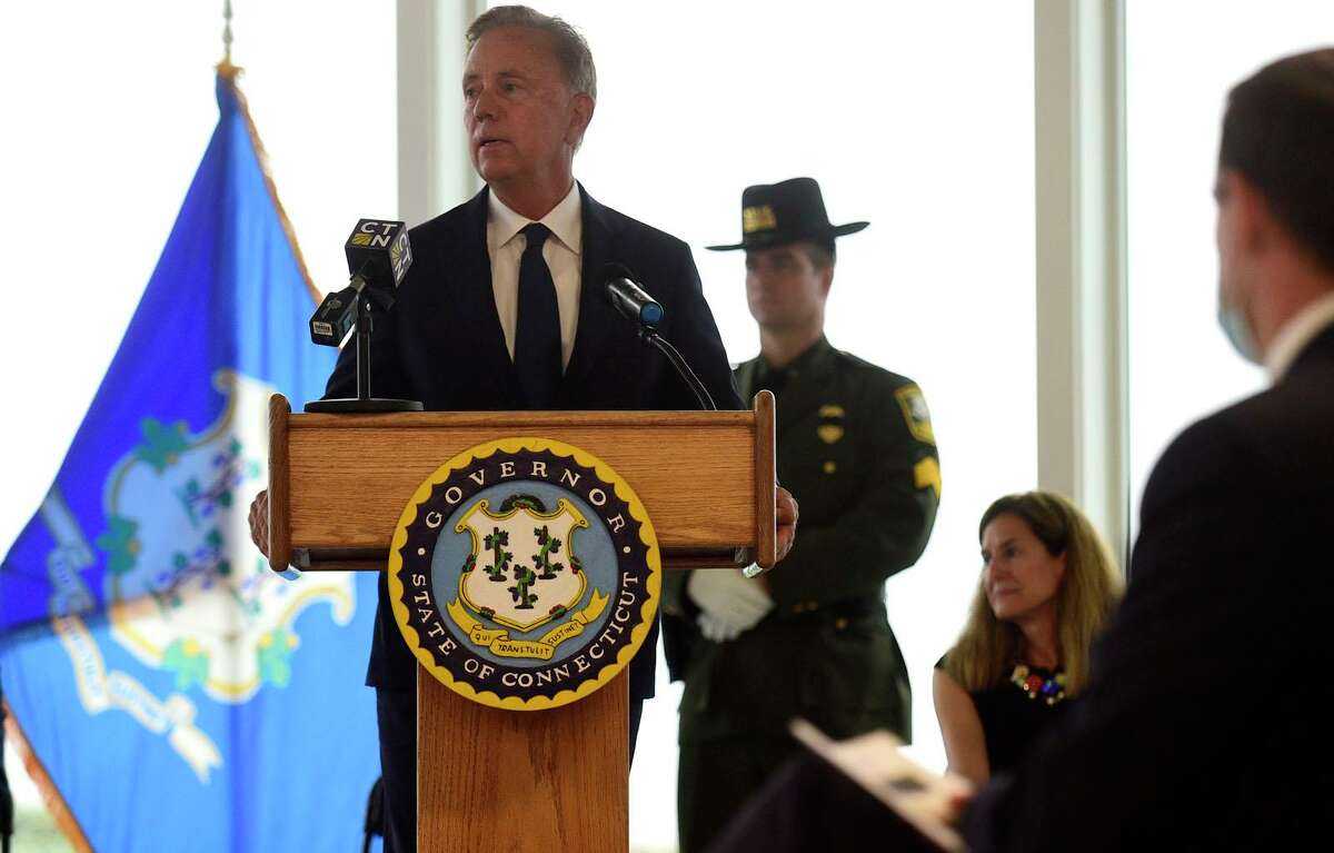 Gov. Ned Lamont and Lt. Gov. Susan Bysiewicz lead the State of Connecticut's annual 9/11 memorial ceremony on Thursday at Sherwood Island State Park in Westport.