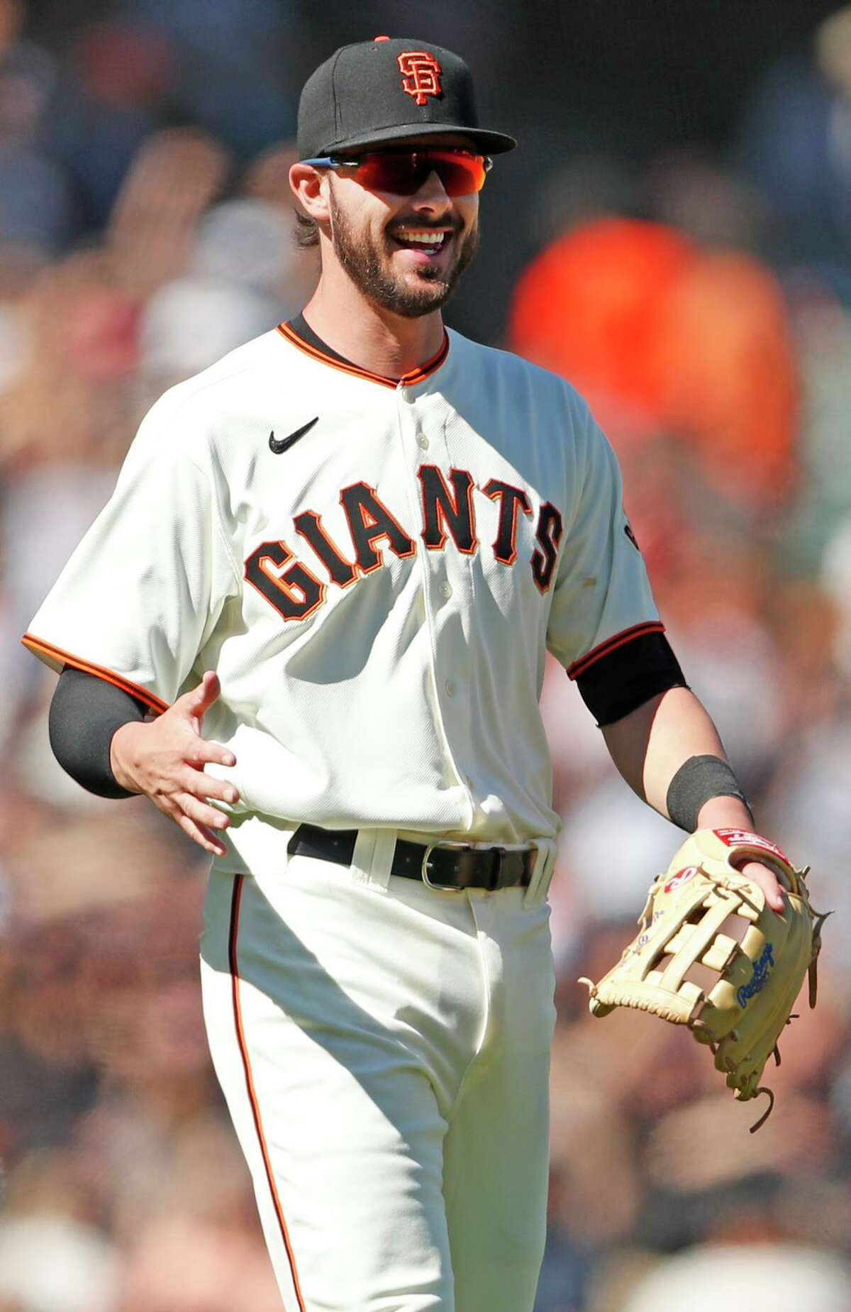 San Francisco Giants' Kris Bryant celebrates Giants' 5-3 win over Houston Astros in MLB game at Oracle Park in San Francisco, Calif., on Sunday, August 1, 2021.